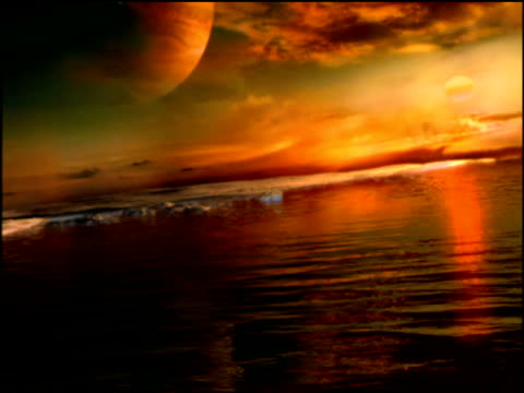 Slow track left across watery surface of alien planet with planets in distance fleet of space craft descend to land