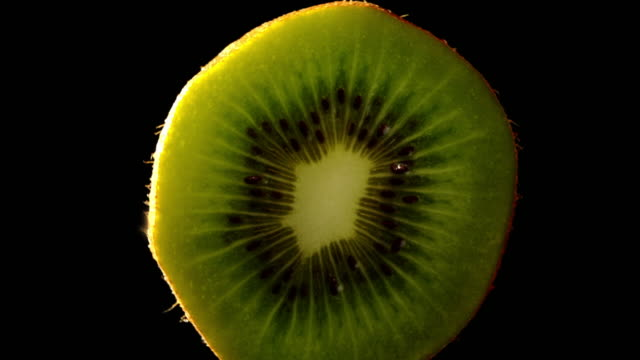 slow zoom in on kiwi tropical fruit with black background - tropical fruit stock videos & royalty-free footage