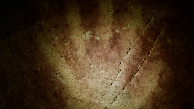 slow zoom into ancient hand silhouette cave painting - atmosphere filter stock videos & royalty-free footage