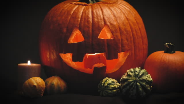 slow zoom to jack o' lantern - gourd stock videos & royalty-free footage