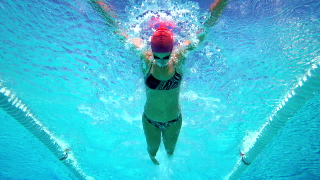 hd slow-motion: giovane donna nuoto a farfalla - sport video stock e b–roll