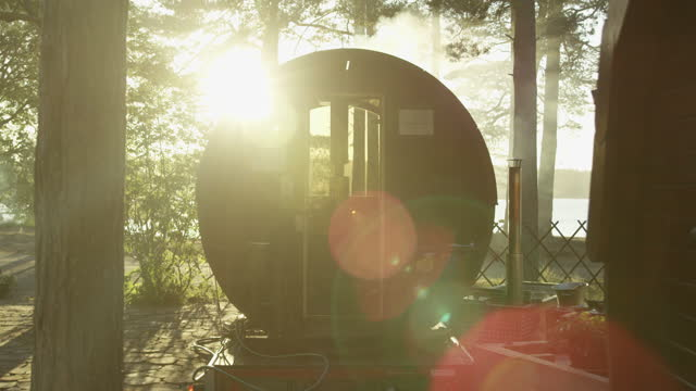 slowmotion flares at a cabin-sauna - sauna stock videos & royalty-free footage
