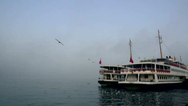 slowmotion foggy istanbul with ferries - golden horn istanbul stock videos and b-roll footage