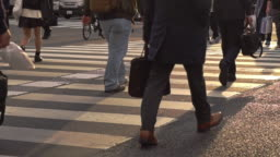 SlowMotion - Peoples walking on a crosswalk with shiny sunset