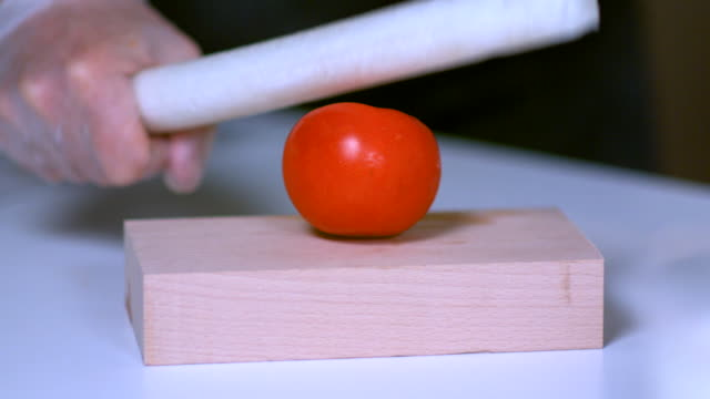 vídeos de stock, filmes e b-roll de slow-motion shot demonstrating the flexible properties of a foam rubber baton as it fails to break the skin of a tomato. - um único objeto