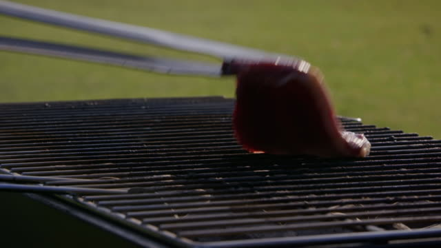 Slow-motion views of steaks being barbecued, UK.