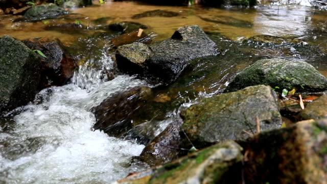 スローモーション、川に流れる水