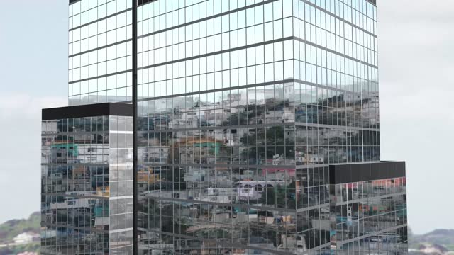 slum reflection on a modern skyscraper windows, the concept of economic inequality in modern society, social contrast, poverty versus wealth in developing countries 4k stock video - wealth stock videos & royalty-free footage