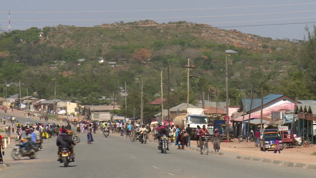 small african town high street - tanzania stock videos & royalty-free footage