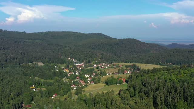 small alsatian village hohwald  in the vosges mountains. aerial view from the drone. spaciousness and untouched nature. - france stock videos & royalty-free footage