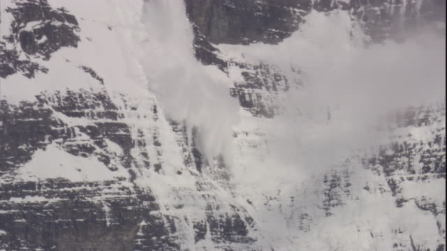 A small avalanche spills down a mountainside, Chile. Available in HD.