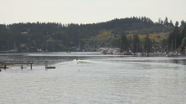 Small Bay of Water at Egde of Large Lake in Washington State
