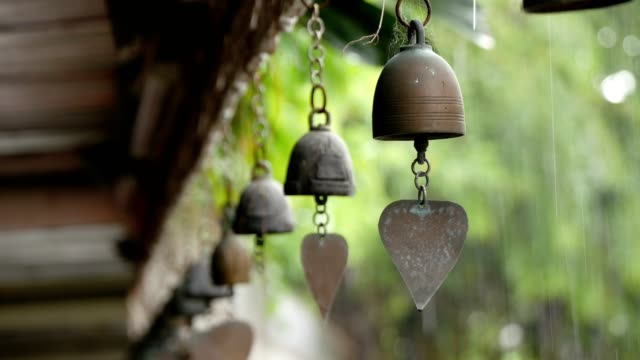 a small bell hanging on the eaves in the temple. - brass stock videos & royalty-free footage