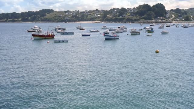 small boats in the harbour at pen ar roz - david johnson stock videos & royalty-free footage
