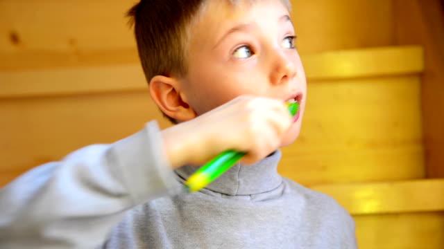 Small boy brushing teeth