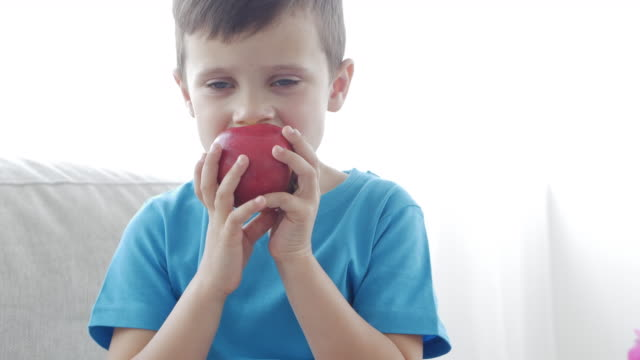 Small boy eating red apple and sitting on the sofa