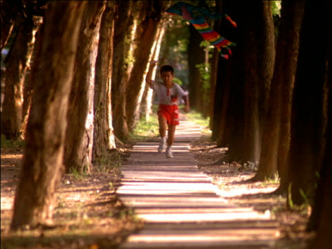 Small boy running along tree lined path with colourful kite, Asia