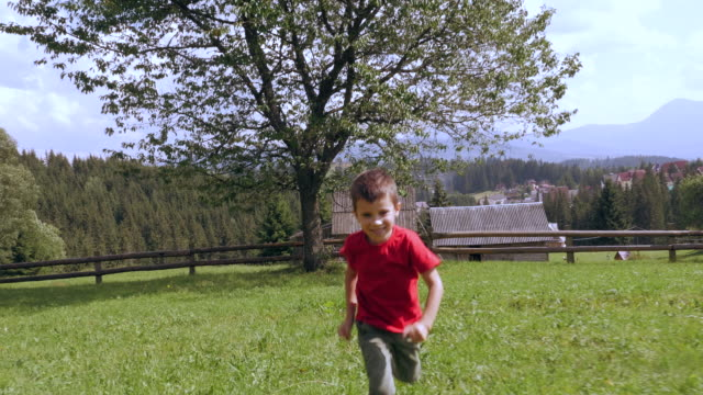 small boy running towards the camera - moving toward stock videos & royalty-free footage