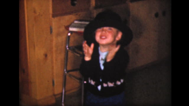 1957 small boy wearing big black hat - baby boys stock videos and b-roll footage