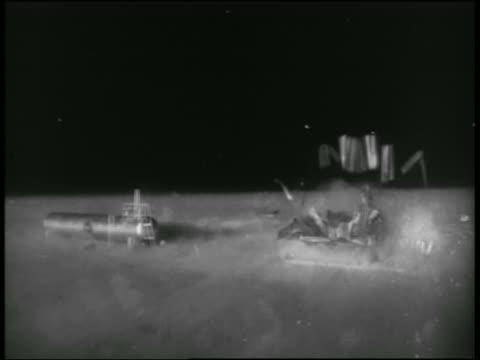 vidéos et rushes de solarized small building exploding during atomic explosion test / nevada - arme de destruction massive