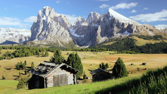 HA Small cabin in an alpine meadow in front of snow-capped peaks / Italy