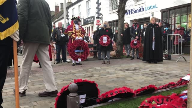 small ceremony is held at a war memorial in royal wootton bassett, wiltshire, to mark armistice day on november 11. - armistice stock videos & royalty-free footage