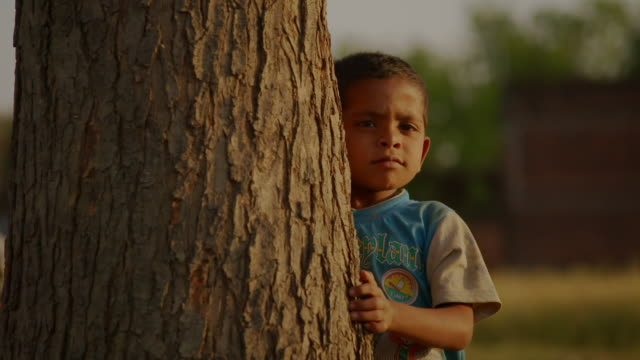 a small child standing next to a tree turns around, rural uttar pradesh, india. - tree hugging stock videos & royalty-free footage