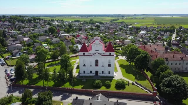 small church in lithuania from above - lithuania stock videos & royalty-free footage