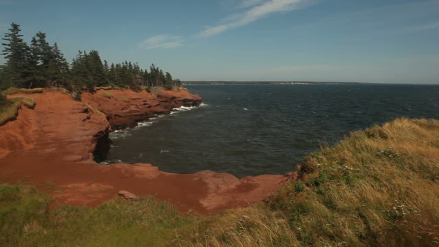small cove on egde of prince edward island at dusk with red clay - island stock videos & royalty-free footage