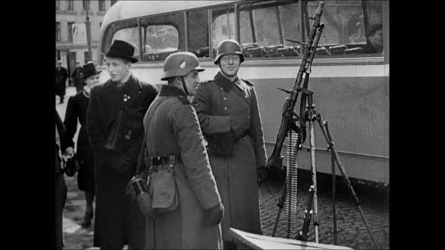ha ws small cove town and harbor norway ws german nazi lookout post flag ms guard patrolling norwegian coast ms nazi officer looking through... - hakenkreuzfahne stock-videos und b-roll-filmmaterial
