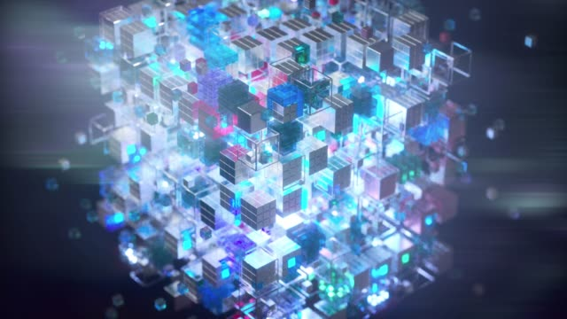 vidéos et rushes de small cubes containing data and forming a big one - frolow