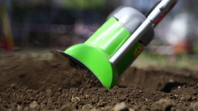 small electric garden tiller closeup - harrow stock videos & royalty-free footage
