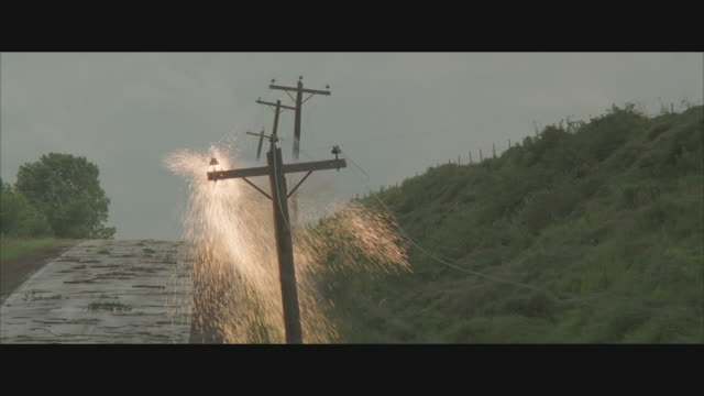 cu, pan, small explosions on telephone poles insulators - telegraph pole stock videos & royalty-free footage