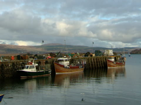 small fishing harbour, calm sea, industry