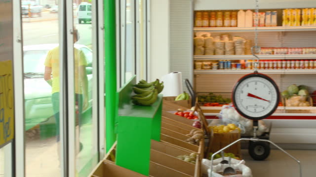 ms, pan, small grocery store interior, richmond, virginia, usa - greengrocer's shop stock videos & royalty-free footage