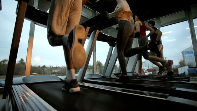 small group of athletes running on treadmills in a gym. - exercise equipment stock videos and b-roll footage