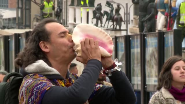 a small group of environmental activists and indigenous defenders protest on bolivar square in bogota in a symbolic pre columbian event called el... - pre columbian stock videos & royalty-free footage