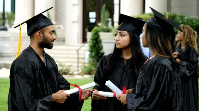 a small group of friends talk about aspirations after graduation - last day stock videos & royalty-free footage