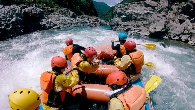 small group of men and women white water river rafting - sport video stock e b–roll