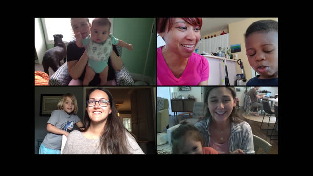 small group of mothers with their young children chat via video call - friendship stock videos & royalty-free footage