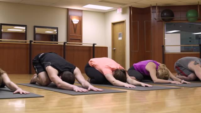 vídeos de stock e filmes b-roll de small group of people doing yoga - cara para baixo