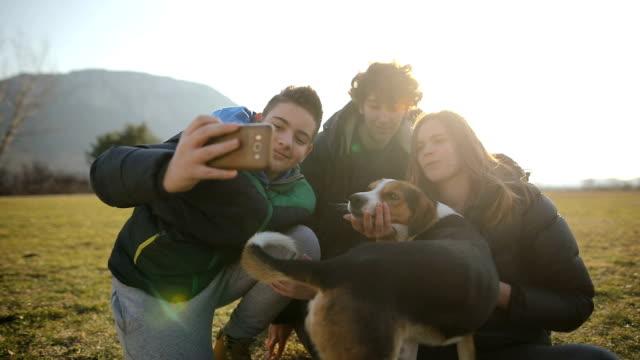 ティーンエイジャーの小さなグループは、フィールド内の野良犬で selfie を行います。バックライトの兄弟姉妹 - photographing点の映像素材/bロール
