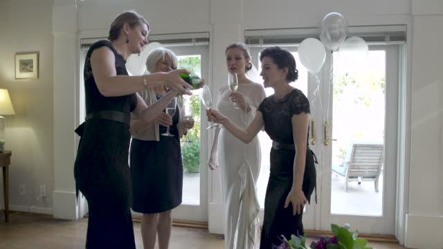 small group of women making a toast. - champagne flute stock videos & royalty-free footage