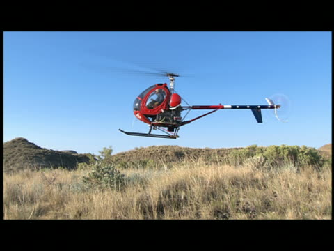 pan, ws small helicopter landing on meadow - klein stock-videos und b-roll-filmmaterial