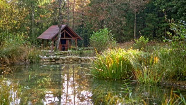 small hut by the lake - dissolvenza in chiusura video stock e b–roll