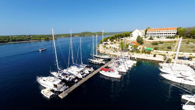 AERIAL Small marina on the coast of Croatia