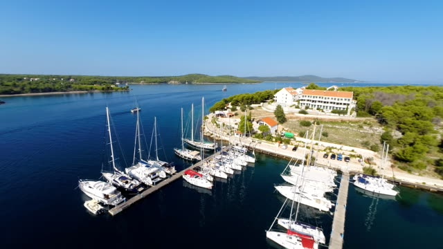 AERIAL Small marina on the Croatian coast