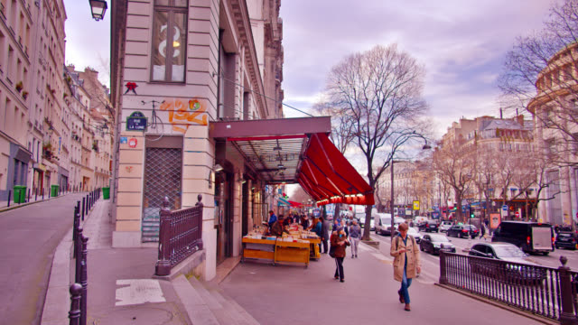 small market grocery place in paris. hill. roads. people walk by. serene scene. - retail occupation stock videos & royalty-free footage