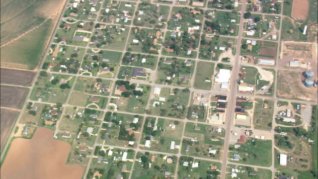 small mid-west town - aerial view - oklahoma, comanche county, united states - oklahoma stock videos & royalty-free footage