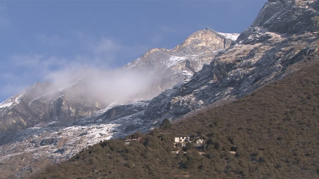 ws small monastery lauda gompa in sherpa village on mountain / mende, khumbu region, nepal - khumbu stock videos & royalty-free footage